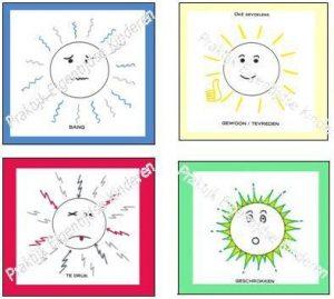 Emotiekaarten Bang, Tevreden, Te druk, Geschrokken. Deze emotiekaarten helpen je om om te leren gaan met je emoties!