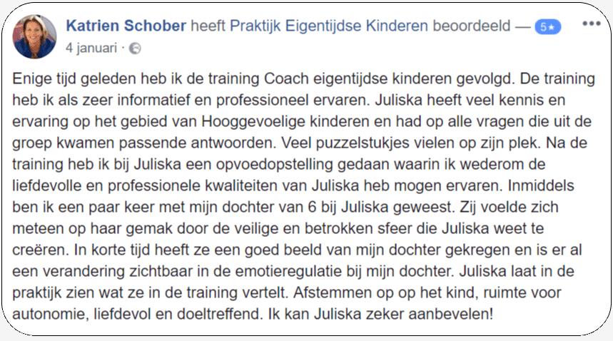 Recensie 5 sterren voor Training Coach Eigentijdse Kinderen